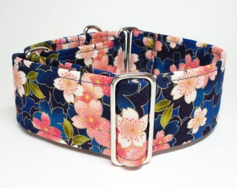 Martingale Collar, Blue Asian Floral, Borzoi Collar, Greyhound Martingale, Saluki Collar, Floral Collar, Blue Collar