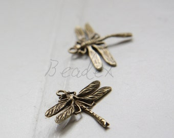 2 Pieces / Dragonfly / Antique Brass / Brass Base / Charm (Z10517//C562)