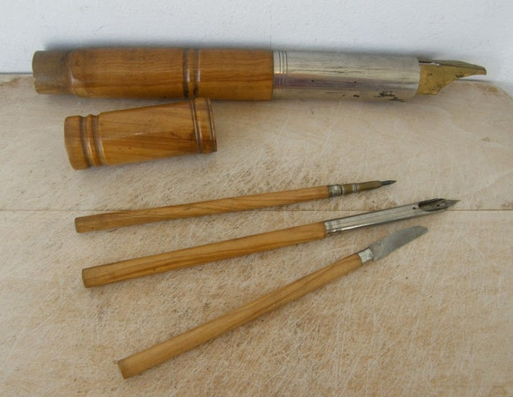 Items Similar To Antique Calligraphy Set In Faux Bamboo