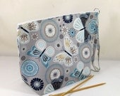 Knitting Project Bag - Large Zipper Wedge Bag in Blue Butterfly Quilting Fabric with Blue and Gray Chevron Cotton Lining