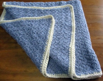 Waves in blue and cream color baby blanket