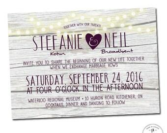 Grey Barn Board And Aubergine Wedding Invitation Set Globe Lights Twinkle Rustic