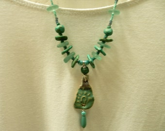 Necklace…with stoneware pottery beads, FunkyPrettyBeads, Pendant and beads made by At Home In Taos….. *