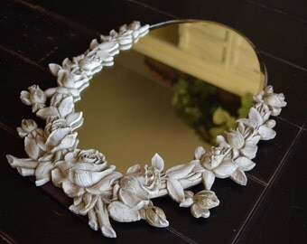 Vintage Mirror / Vanity Mirror / Flowers/ Hollywood Regency/ Wedding