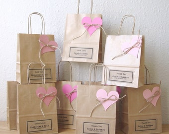 Wedding favour bags SMALL gift bags brown paper gift wrap personalized favours - SMALL 15cm x 19.5cm x 8cm set of 5