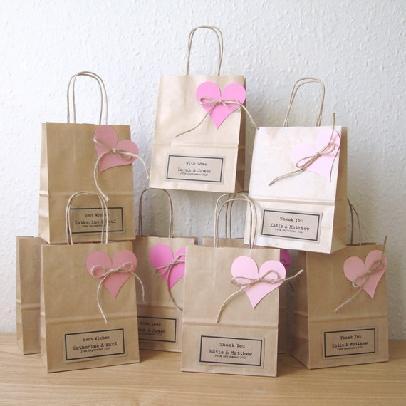 Wedding Guest Gift Bags Uk : Wedding favour bags SMALL gift bags brown paper gift wrap personalized ...