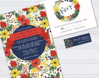 Floral Pattern Wedding Invitations, Wedding Doodles, Orange and Navy Blue Wedding Invites, Hipster Wedding Stationery, Cheap Invites