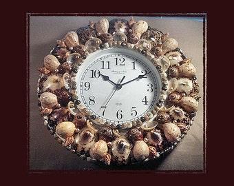 Sea Shell Wall Clock Owl Limpet Shells, Beach/Coastal/Nautical Decor, Wedding/Housewarming/Anniversary Gift