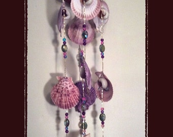 Sea Shell Wind Chime Suncatcher Pink Purple Nobilis Pectens w/Crystals, Beach/Coastal/Nautical Decor, Patio/Yard/Garden Decor
