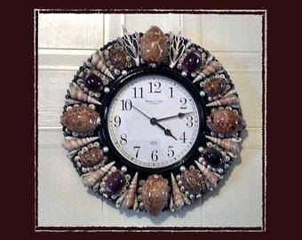 Sea Shell Wall Clock--Cowrie Shells, Beach/Coastal/Nautical Decor, Wedding/Housewarming/Anniversary Gift