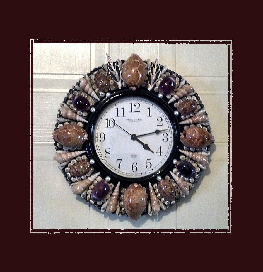Sea Shell Wall Clock 12 Cowries Handmade Coastal