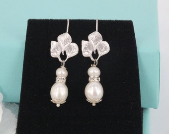 Freshwater Pearl and Matte Silver Leaf Earrings