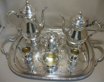 Silver Plate International Silver Co Camilla Pattern Tea Pot Set Waiter Tray 1971-1984