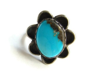 Sterling Silver Turquoise Ring Size 7.5 Southwestern Navajo Style Indian Jewelry Boho Chic
