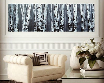 NEW 12x36 Original Black and White Neutral Aspen/Birch Tree Painting by MyImaginationIsYours
