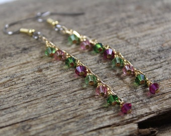 Pink and Green Swarovski Crystal on Gold Chain Dangle Earrings / Pink and Green / Long Earrings / Gifts for Her / Gifts for Women / Gold