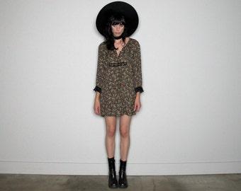 FLORAL Print Mini Dress Black Long Sleeves 90s VTG Size S/M