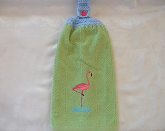 Hanging Double Kitchen Towel Pink Flamingo Hanging Towel Crochet Hanging Kitchen Towel