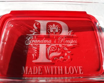 Personalized Casserole Baking Dish with Lid, Made with love pyrex dish,  Pyrex dish engraved family name, church social, wedding gift