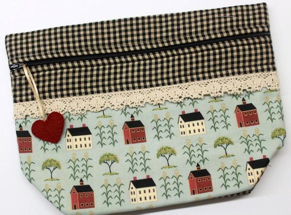 Lil' Big Bottom Primitive Salt Box Gingham Cross Stitch Embroidery Bag