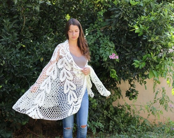 Crocheted Off White Wraps Shawl Evening Ivory shawl  Off white dress  extra large shawl Crochet shawl