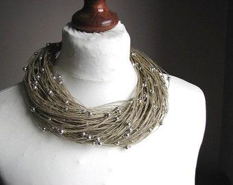Silver raindrops - linen necklace