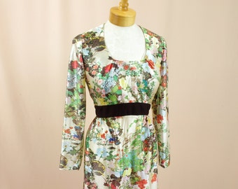 Leslie Fay Dress * 60s Dress * 60s Maxi Dress * Floral Maxi Dress * Floral Dress * 1960s Dress * Green and Brown Dress * Mod Dress