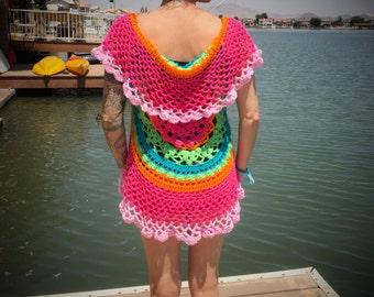 Hand-Crocheted Short Length Boho Style Vest in Pink Fiesta