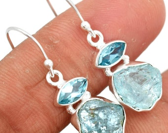 Topaz and Raw Aquamarine. Sterling Silver Earring Pair.
