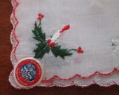Vintage Christmas Cotton Hankie Embroidered Hankerchief Willow Novelties Made in Switzerland Holly Candles YourFineHouse ShipsWorldwide