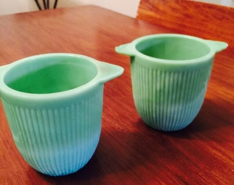 Vintage Jadeite Green Sugar Bowls Heavy Very Old Jane Ray Midcentury