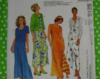 Pattern c.1998 McCall's No.9216 Dress & Jacket Size 12,14,16, Uncut