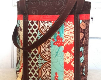 Quilted Cotton Tote Bag in Brown, Turqouise and Red Prints Cotton Tote Bag
