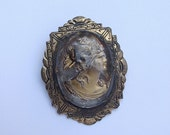 Vintage Large Intaglio Cameo brooch pin, Glass Cameo brooch, Gold enamel brooch, Shabby chic jewelry, Antique brooch, Antique jewelry