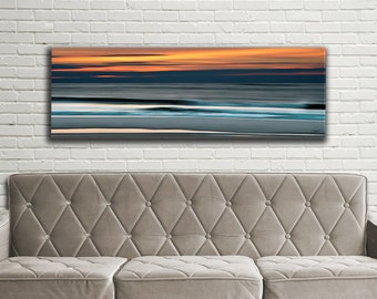 Abstract Ocean Panoramic Print, Large Canvas Gallery Wrap