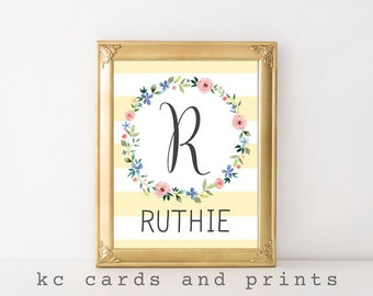 Ruthie Name Art - 12x16 inches - R Nursery Monogram - Nursery Print - Name Printable-  Nursery Wall Art - Baby Girl Monogram Wall Art