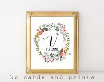 Vivienne Name Art - Custom Name Print - Nursery Monogram - Nursery Wall Art - Nursery Printable