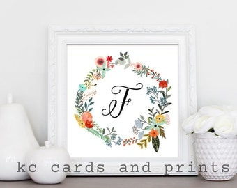 Letter F Monogram Printable - Monogram Print - Nursery Monogram 10x10 inches - Floral Monogram Wall Art