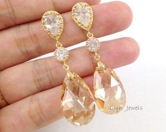 Golden Shadow Earrings - Long Champagne Gold Swarovski Crystal Earrings - Sparkling Wedding Bridal Prom Jewelry