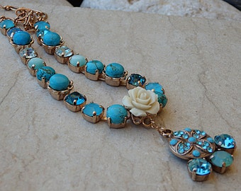 Turquoise bridal necklace. Rhinestone swarovski necklace. Rose gold plated necklace. Bridesmaid jewelry gift. White coral necklace. For her