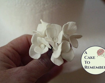 6 Wired gumpaste edible flower hydrangeas for cake decorating- Sugar flowers for wedding cake toppers, cake flowers