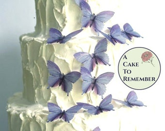 "15 lavender romantic cake topper edible butterflies. 2"" wide. Purple wedding decorations for woodland weddings or rustic country weddings"