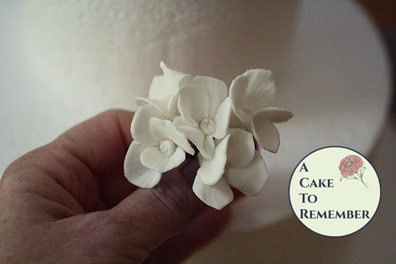 6 Wired Gumpaste Edible Flower Hydrangeas For Cake Decorating Sugar Flowers For Wedding Cake