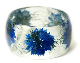 Flower Jewelry- Real Flower Jewelry- Blue Bangle- Blue Flower Jewelry- Resin Jewelry- Flower Bangle- Flower Resin Bracelet