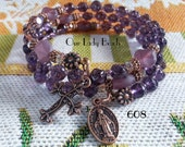 Rosary Bracelet Wrap,Purple Glass Rosary,Religious Gift,Catholic Jewelry,Confirmation,First Communion,Gift for Her,by Our Lady Beads,#608