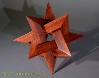 12 point Star sculpture, bloodwood