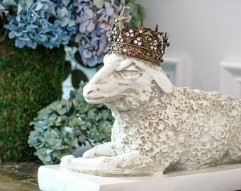 Fab Sheep Statue, Ewe, White Lamb, Statuary