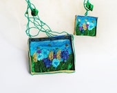 The meadow statement mixed media collage, contemporary, hand embroidered, fabric, hand dyed, organic necklace