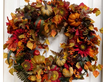Fall Wreath , XL Fall WreathDoor Wreath ,  Autumn Harvest Wreath , Front Door Wreath , Pumpkin Patch
