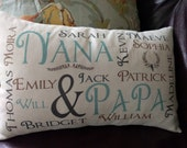 Grandparent, Grandma, Grandpa and grand children kids pillow